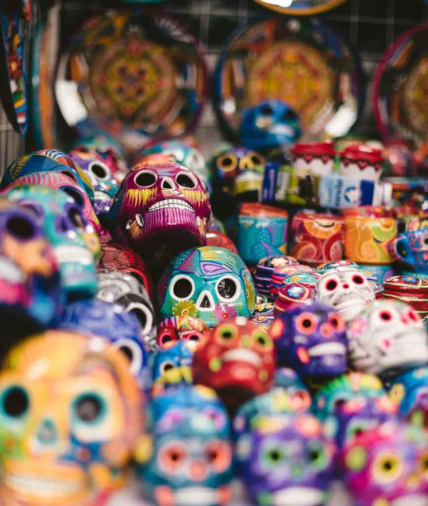 multi-colored day of the dead skulls